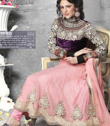 Buy Mesmerizing bluish purple & deep pink salwar kameez party-wear-salwar-kameez online