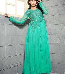 Blue Net Embroidered Unstitched Party Wear Gown