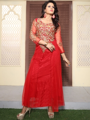 Red Net Embroidered Unstitched Party Wear Gown