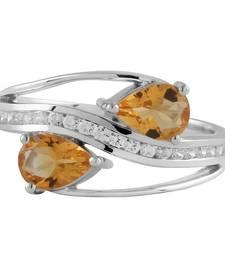Buy Citrine And Cubic Zirconia Gemstone Studded Ring gemstone-ring online