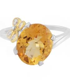 Buy Silver Flower Citrine Gemstone Ring gemstone-ring online