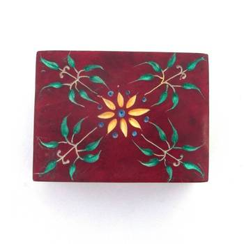 Carved Marble Box -RED