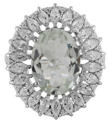 Buy Silver Green Amethyst And Cubic Zirconia Studded Ring gemstone-ring online