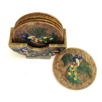 Diwali gifts - Carved Marble, hand painted coasters