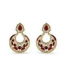 Buy Gold Finishing Maroon Meenakari Stone Work Designer Dangle Earrings hoop online