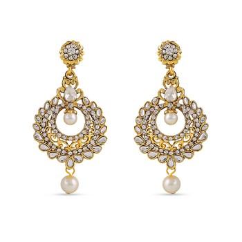 White Kundan Stone Dangle Designer Earrings For Occasion Wear