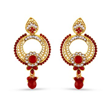 Chand Bali Design Red Drop Dangle Earrings