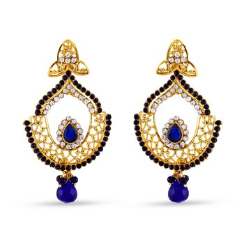 Exclusive Blue Drop Designer Dangle Earrings Gorgoeus For Party Wear