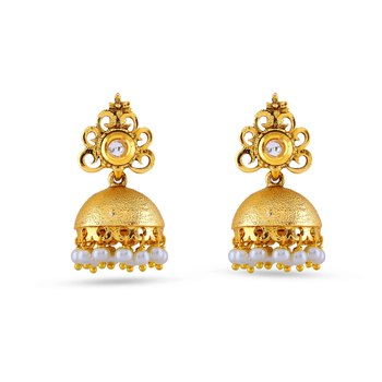 Designer Golden Jhumki Pota Stone Work Design Earrings