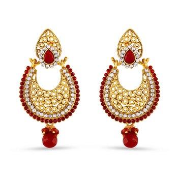 Red Pota Stone Work Designer Dangle Earrings