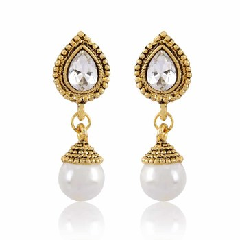 Rhodium Finishing White Pearl Drop Causal Wear Earrings