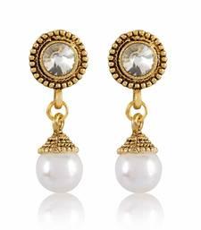 White Stone Gold Finishing Round Shape Design Earrings