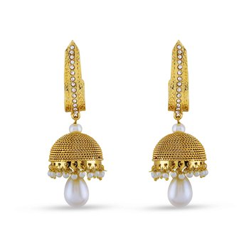 Gold Finishing Designer Jhumki Earrings With White Stone For Party Wear