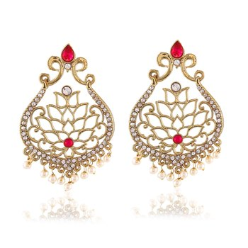 Fancy Pink Kundan Adorable Gold Finishing Design Dangle Earrings