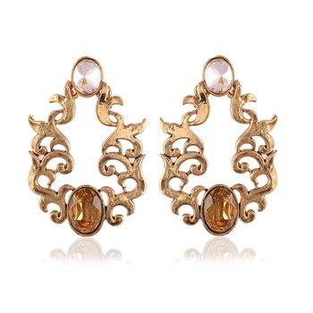 Fancy Golden Stone Designer Dangle Earrings For Party Wear