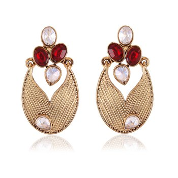 Stunning Red Beads Stone Gold Finishing Dangle Earrings