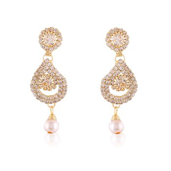 Fancy White Roll Chain Stone Work Design Dangle Earrings