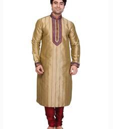 beige polysilk maroon poly silk resham kurta pyjama