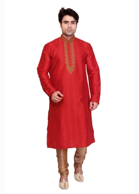 Red Polysilk Bronze Poly Silk Embroidered Kurta Pyjama