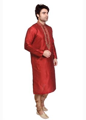 Red Polysilk Bronze Poly Silk Embroidered Kurta Pyjama