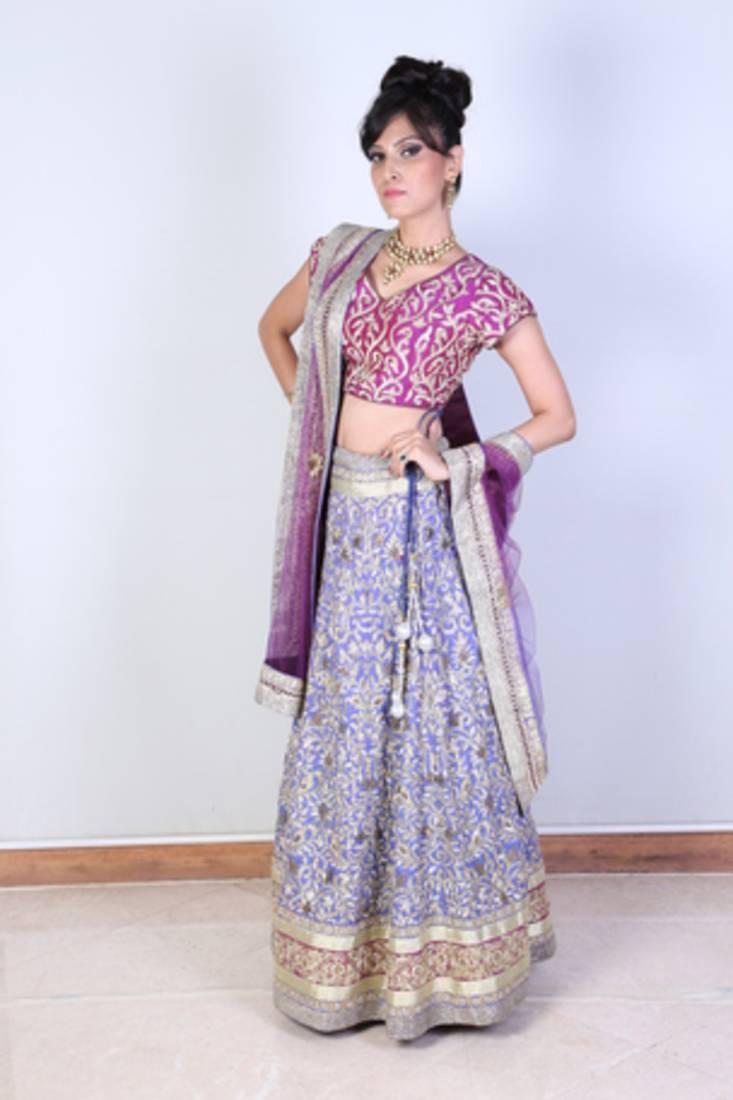 Buy Lavender And Pastel Magenta Pitta Work Bridal Lehengas Online Kemeja Contrast Multicolor Shop At Velvet