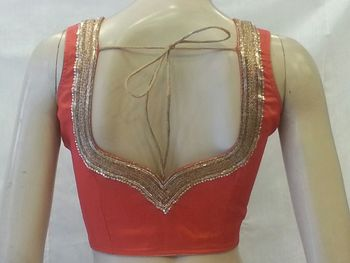 Red handwork blouse. dupion silk stitched blouse