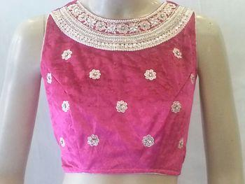 Classy pink velvet blouse.Handwork Velvet stitched blouse