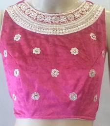 Buy Classy pink velvet blouse.Handwork Velvet stitched blouse blouse online