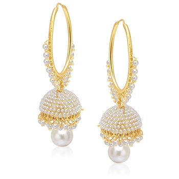 Gorgeous Gold Plated Pearl Jhumki For Women