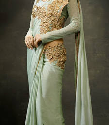 Buy Sea Green embroidered georgette saree with blouse party-wear-saree online