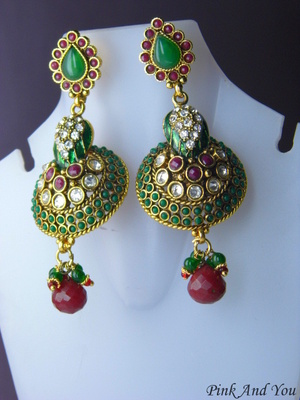 7e40b1279067c Antique long earring customised of red & green stones, american diamond,  polki and ruby drop.