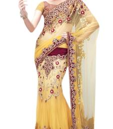 Buy yellow embroidered net saree with blouse net-saree online