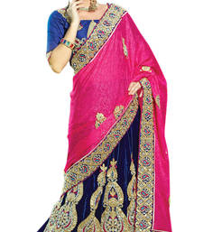 Pink embroidered brasso saree with blouse