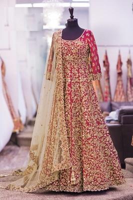 Red embroidered art silk semistitched salwar with dupatta