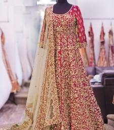 Buy Red embroidered art silk semistitched salwar with dupatta anarkali-salwar-kameez online