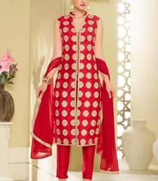 Buy Maroon bhagalpuri silk embroidered semi stitiched salwar with dupatta party-wear-salwar-kameez online