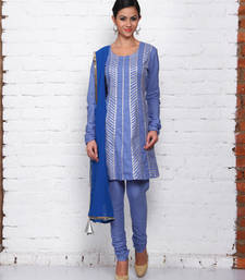 Buy blue cotton embroidered stitched salwar with dupatta readymade-suit online