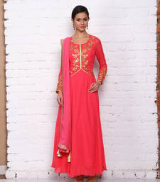 Buy dark pink georgette embroidered stitched salwar with dupatta readymade-suit online