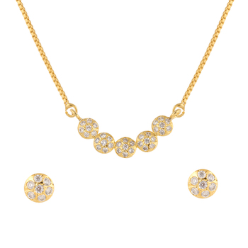 White cubic zirconia yellow gold pendants