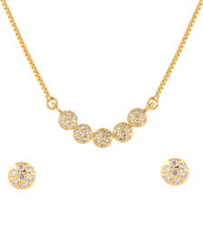Buy White cubic zirconia yellow gold pendants Pendant online