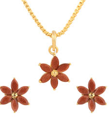 Buy Brown cubic zirconia yellow gold pendants Pendant online