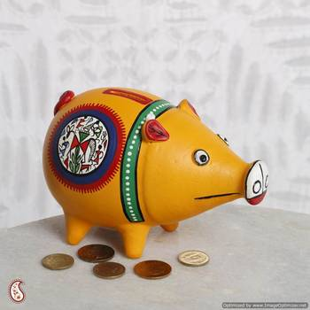 Hand painted Piggy bank made of terracotta
