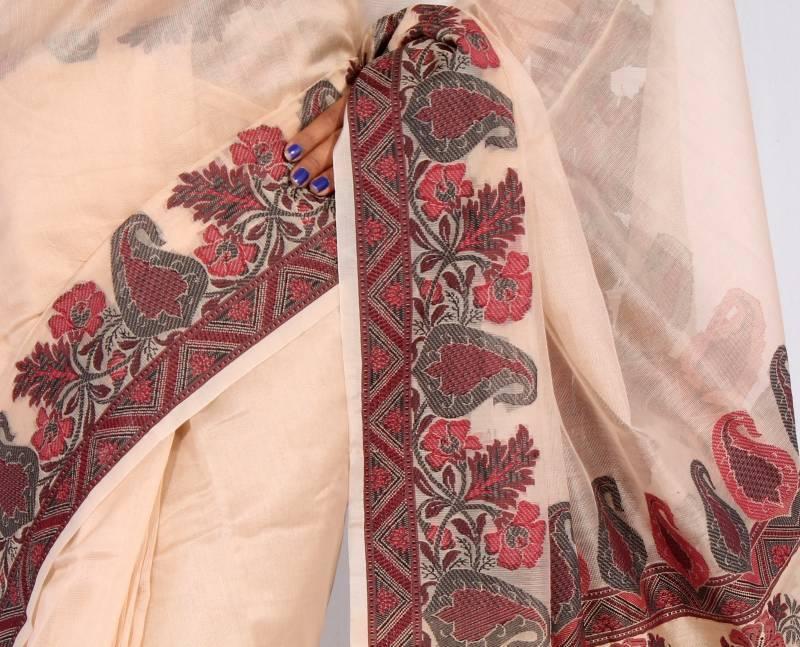 Cotton Vs Linen Curtains: Buy Pure Cotton Supernet Fancy Aanchal Border Saree Online