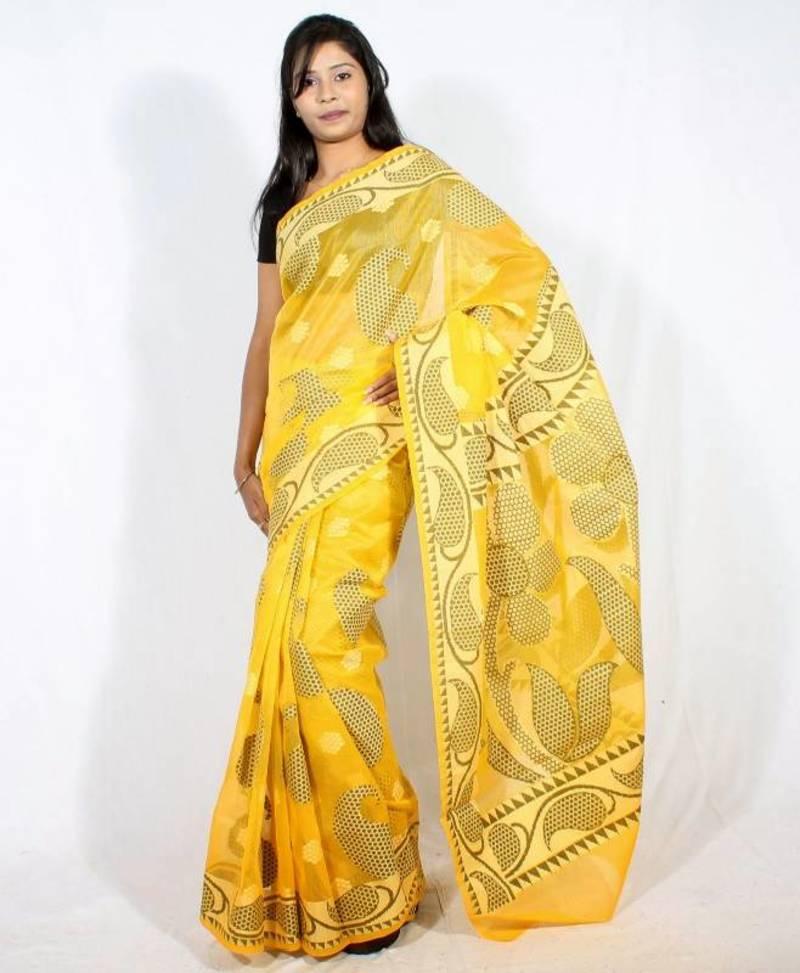 6165182c2b Cotton Supernet Aanchal Border Saree - Bunkar - 112000