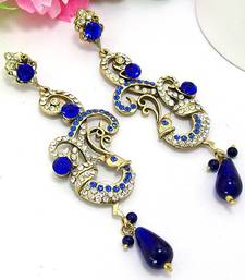 Buy Victorian Curvy Peacock Long Danglers Royal Blues danglers-drop online
