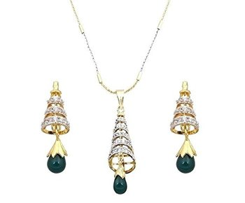 Divinique Jewelry AD studded Conical pendant set With GREEN Drop