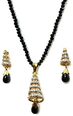 New Divinique Jewelry AD studded Conical pendant set With Black Drop