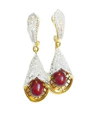 Divinique Maroon pearl AD party earrings