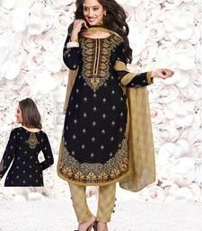 Buy Black printed crepe unstitched salwar with dupatta women-ethnic-wear online