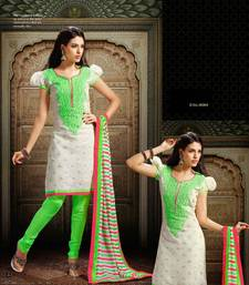 Buy Designer White & Green Chanderi Suit dress-material online